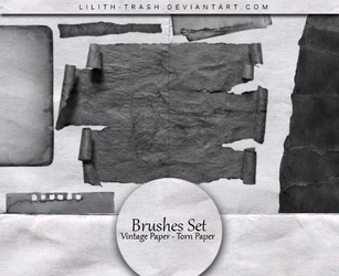 Vintage Paper -Torn Paper Brushes by LilithDemoness