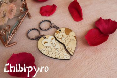 Wooden keychain commission by ChibiPyro