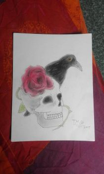 Skull, Rose ans Crow by TheMisfitGuy
