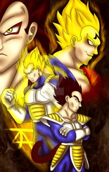 [Old Artwork] All forms of the Saiyan Prince by CrimsonMercury7192