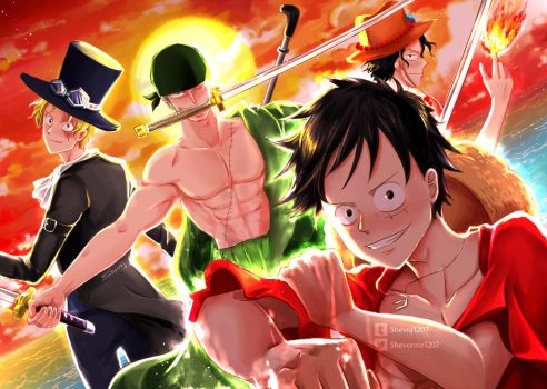 Commission Art - One Piece ASL brothers and Zoro by shevoj