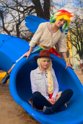 It's time to pony up! - Applejack and Rainbow Dash by annemcosplay