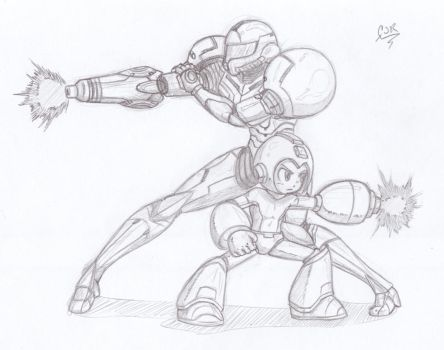 Samus and Mega Man by X-Cross