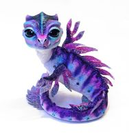 Purple Babywaterdragon, Poseable art dolls by FellKunst