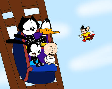 Toons riding on Roller Coaster out of control by MarcosPower1996
