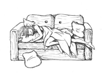 Toad sleeping on his sofa by Claw-Ravenscroft