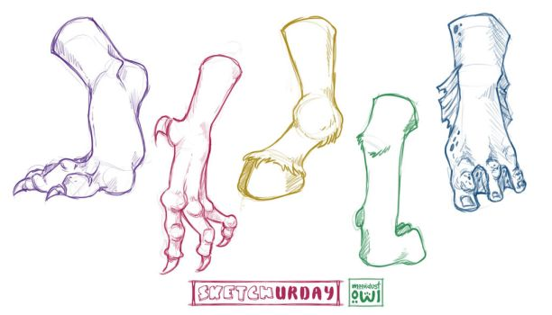Sketchurday #47 - Fantasy Humanoid Feet Studies by moondustowl