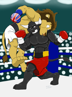 Powerful punch in the belly. by Drawing-4Ever