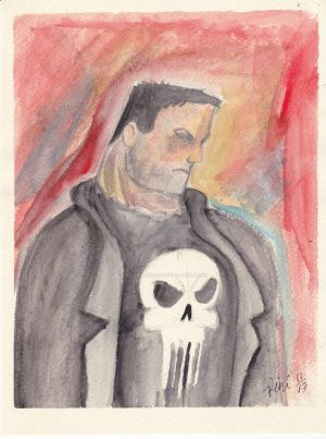 PUNISHER WATER COLR SPEED DRAWING +VID by IDROIDMONKEY
