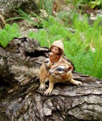 SCULPTURE chipmunk and pixie by pixiwillow