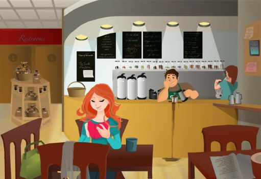 scene in a cafe by HILLYMINNE