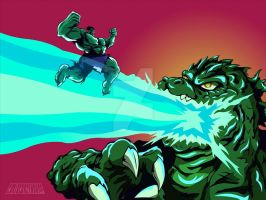 Hulk Vs Godzilla by chriscrazyhouse