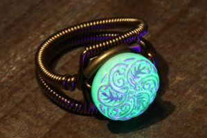 Uranium glass Steampunk ring by CatherinetteRings