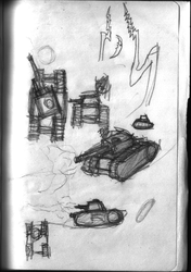 Mars 2050 Concept Sketch - Tanks 2 by ForgottenDemigod