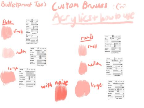Custom Acrylic Brushes [Paint Tool Sai] by mintae-chii