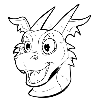 Free Toon Dragon icon  -Line art- by Hunter-Stirling