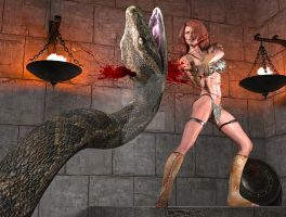 Sonja vs the snake by fsmcdesigns