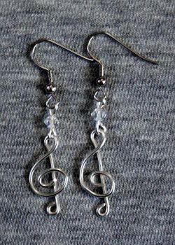 Silver and Crystal Treble Clef Earrings by craftymama