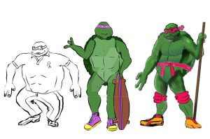 Turtle 3x progression by MikesScribbles