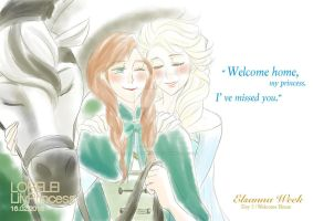 Elsanna Week Day 05: Welcome Home by LORELEI-LilyPrincess