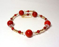 Red and gold bracelet 2 by Koreena