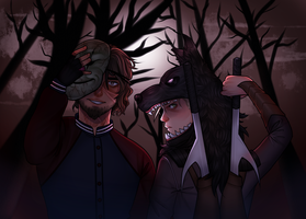 Creepypasta: Hoaxton and Loup Noir(Commission) by SatiricalKat
