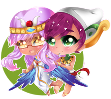 Chibi couple commission  by RavenMomoka