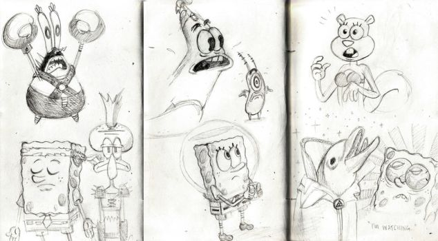 Spongebob 'Sponge Out of Water' movie sketches by rocketbombs