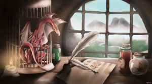 A wizard's desk by trinemusen1