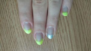 Bright yellow french manicure by Anonymous---Lucifer