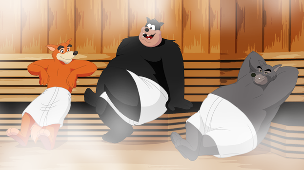 Commission - Villains in the Sauna by RetroUniverseArt