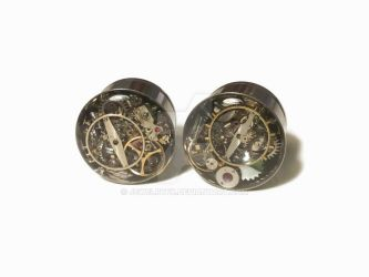 5/8 1 PAIR Single Flare Steampunk Tunnels Gauges by jewelryfx