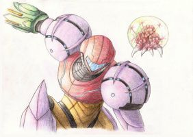 Samus and Baby by SolusNox
