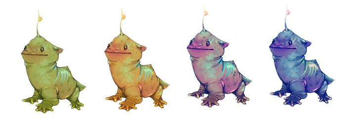 Rough color comp- baby monster by firesprite