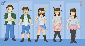 Gender Transfromation (Commission) by TheMaskofaFox