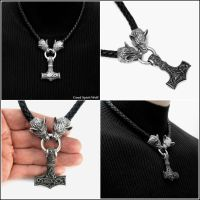 Large Mjolnir Necklace with Wolf Head Connectors by GoodSpiritWolf