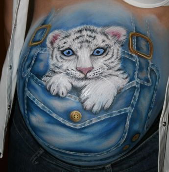 Bellypainting Weisser Tiger by iacubino