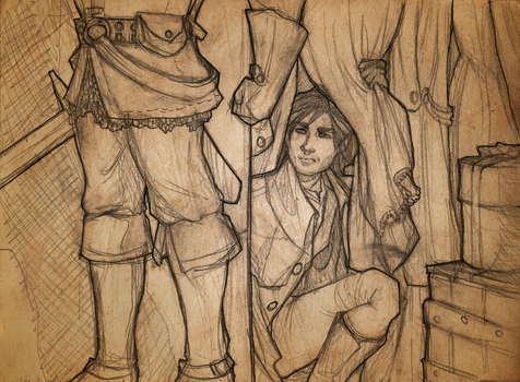Andruin Illustration 1 - Hiding at the Hearth by bunnystick