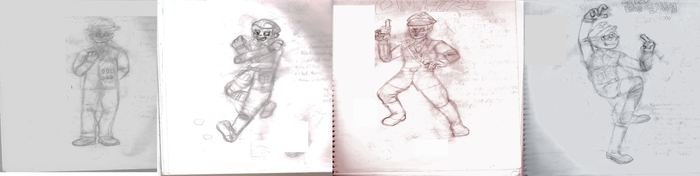 Drawings of the Four Main Characters Sketch by Schplitzkriegs