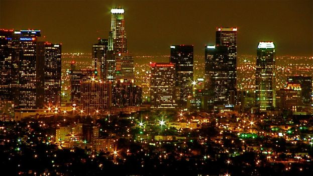 Los Angeles Skyline - Night by RenaissanceNoir
