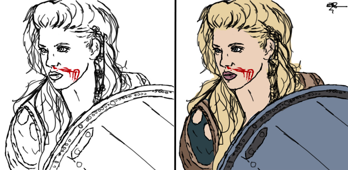 Shieldmaiden Lagertha WIP -- about 3 hours in by Wishiwasahobbit