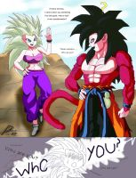 Goku Xeno meets Caulifla by Black-X12
