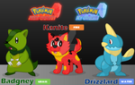 Pokemon Fiery Quartz and Icy Quartz - Starters by MLP-TrailGrazer