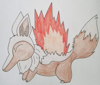 Eevee And Cyndaquil Fusion With Fire by bio-zuzu