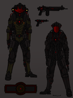 Tenebrean Gen-2 Military Pressure Suit's W.I.P. by Athalai-Haust