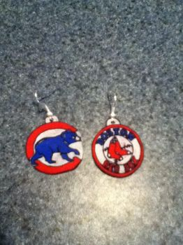 Cubs and Red Sox Earring by sailor-kitty19