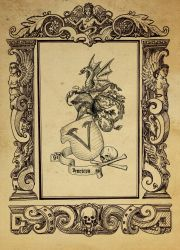 Alchemical woodcut- border and heraldry by dashinvaine
