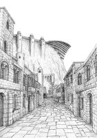 A Street of Minas Tirith by MatejCadil