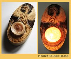 Pyrography Phoenix Tealight Holder by BumbleBeeFairy