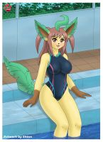 Leafeon in the pool